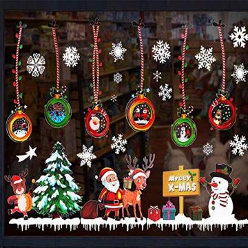 MEISHANG Fensterfolie Weihnachten,Fensteraufkleber Weihnachten,Weihnachten Fensterdeko Selbstklebend,Fensteraufkleber PVC,Fensterbilder Weihnachten,Weihnachten Deko Fenster - 3