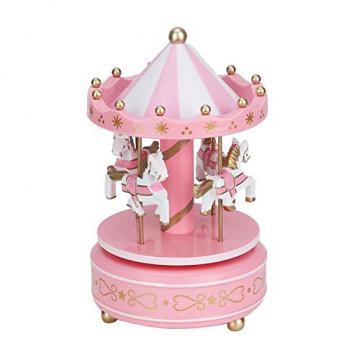 Merry-Go-Round-Spieluhr Karussell Pferd Spieluhr Babyzimmer Nacht Wohnkultur Weihnachten Hochzeit Geburtstagsgeschenk Dekor(Pink) - 2