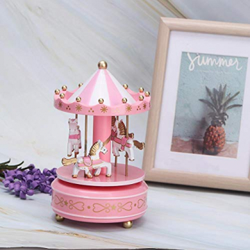 Merry-Go-Round-Spieluhr Karussell Pferd Spieluhr Babyzimmer Nacht Wohnkultur Weihnachten Hochzeit Geburtstagsgeschenk Dekor(Pink) - 6