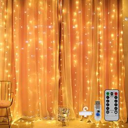 Mitening LED USB Lichtervorhang 3m x 3m, 300 LED Lichterkettenvorhang mit 8 Modi Lichterkette Gardine für Schlafzimmer Partydekoration Innenbeleuchtung Weihnachten Deko Warmweiß, Energieklasse A+++ - 1