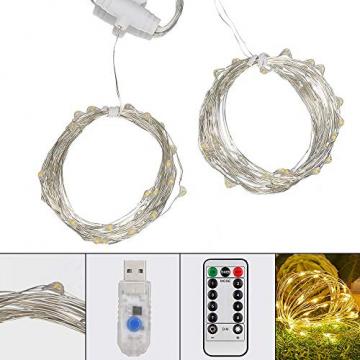 Mitening LED USB Lichtervorhang 3m x 3m, 300 LED Lichterkettenvorhang mit 8 Modi Lichterkette Gardine für Schlafzimmer Partydekoration Innenbeleuchtung Weihnachten Deko Warmweiß, Energieklasse A+++ - 5