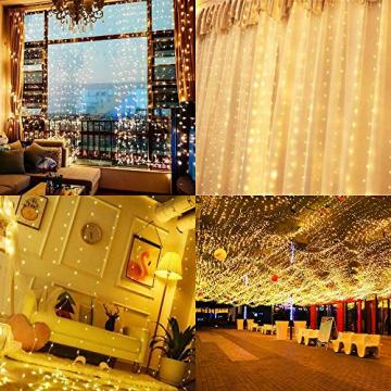 Mitening LED USB Lichtervorhang 3m x 3m, 300 LED Lichterkettenvorhang mit 8 Modi Lichterkette Gardine für Schlafzimmer Partydekoration Innenbeleuchtung Weihnachten Deko Warmweiß, Energieklasse A+++ - 6