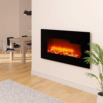 Monzana Wandkamin Elektrokamin Heizlüfter Head Up Display 1500W / 1800W Thermostat Fernbedienung Timer Dimmbar Kaminofen Kamin - 2