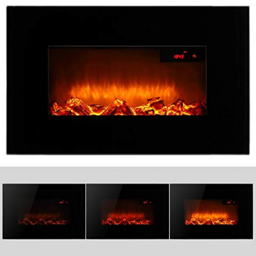 Monzana Wandkamin Elektrokamin Heizlüfter Head Up Display 1500W / 1800W Thermostat Fernbedienung Timer Dimmbar Kaminofen Kamin - 3