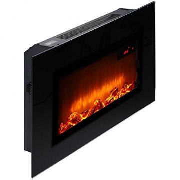 Monzana Wandkamin Elektrokamin Heizlüfter Head Up Display 1500W / 1800W Thermostat Fernbedienung Timer Dimmbar Kaminofen Kamin - 4