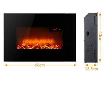 Monzana Wandkamin Elektrokamin Heizlüfter Head Up Display 1500W / 1800W Thermostat Fernbedienung Timer Dimmbar Kaminofen Kamin - 5