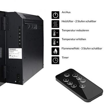 Monzana Wandkamin Elektrokamin Heizlüfter Head Up Display 1500W / 1800W Thermostat Fernbedienung Timer Dimmbar Kaminofen Kamin - 6