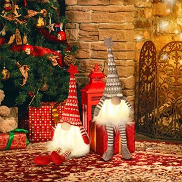 MTaoyac Weihnachten Deko Wichtel 49 cm Hoch, Schwedischen Weihnachtsmann Santa Tomte Gnom, Festliche Verpackung, Skandinavischer Zwerg Geschenke für Kinder Familie Weihnachten Freunde(2 Stücke) - 7