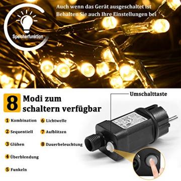 NAIZY 6 x 4 m LED Lichternetz, Lichtervorhang Lichterkette Deko Leuchte für Innen und Außen Party Weihnachten Hochzeit - 672 LEDs Warmweiß - 3