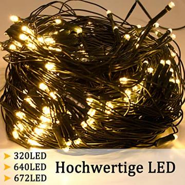 NAIZY 6 x 4 m LED Lichternetz, Lichtervorhang Lichterkette Deko Leuchte für Innen und Außen Party Weihnachten Hochzeit - 672 LEDs Warmweiß - 4