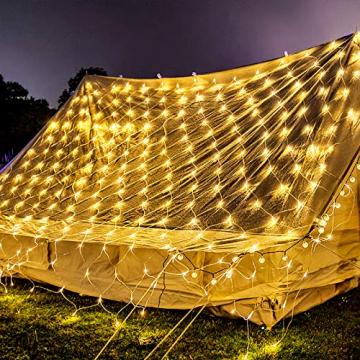 NAIZY 6 x 4 m LED Lichternetz, Lichtervorhang Lichterkette Deko Leuchte für Innen und Außen Party Weihnachten Hochzeit - 672 LEDs Warmweiß - 1
