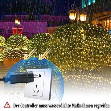 NAIZY 6 x 4 m LED Lichternetz, Lichtervorhang Lichterkette Deko Leuchte für Innen und Außen Party Weihnachten Hochzeit - 672 LEDs Warmweiß - 5