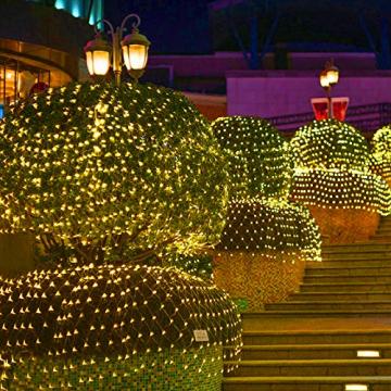 NAIZY 6 x 4 m LED Lichternetz, Lichtervorhang Lichterkette Deko Leuchte für Innen und Außen Party Weihnachten Hochzeit - 672 LEDs Warmweiß - 7