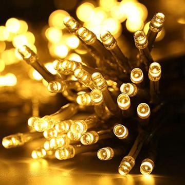 NEXVIN Lichterkette Warmweiß, 20+3M 200 LED Lichterkette Anschließbar, Strombetrieben, 8 Leuchtmodi Dimmbar, IP44 Wasserdicht Lichterkette mit Fernbedienung für Innen Außen Party Feier Deko - 2