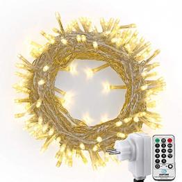 NEXVIN Lichterkette Warmweiß, 20+3M 200 LED Lichterkette Anschließbar, Strombetrieben, 8 Leuchtmodi Dimmbar, IP44 Wasserdicht Lichterkette mit Fernbedienung für Innen Außen Party Feier Deko - 1