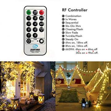 NEXVIN Lichterkette Warmweiß, 20+3M 200 LED Lichterkette Anschließbar, Strombetrieben, 8 Leuchtmodi Dimmbar, IP44 Wasserdicht Lichterkette mit Fernbedienung für Innen Außen Party Feier Deko - 5