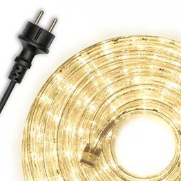 Nipach GmbH 20m 480 LED Lichterschlauch Lichtschlauch warm-weiß – Innen- und Außenbereich – energiesparende Leucht-Dekoration für Garten Fest Weihnachten Hochzeit Gesamtlänge ca. 21,50 m - 1
