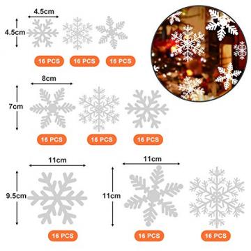 NOCHME Schneeflocken Fensterdeko Weihnachten, 108 PCS Statische Fensteraufkleber für Fenster, Fensterbild, Weihnachtsfensterbilder, Weihnachtsdeko, Fensterbilder, Fensterfolie PVC-Aufkleber (Weiß) - 2
