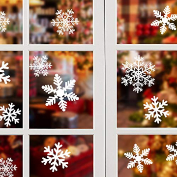 NOCHME Schneeflocken Fensterdeko Weihnachten, 108 PCS Statische Fensteraufkleber für Fenster, Fensterbild, Weihnachtsfensterbilder, Weihnachtsdeko, Fensterbilder, Fensterfolie PVC-Aufkleber (Weiß) - 1