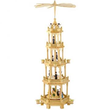 OBC Weihnachtspyramide/Naturtöne/Pyramide Weihnachten / 5 Etagen/im Erzgebirge Stil, handgefertigt/Deko zu Weihnachten - 1