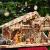 ÖLBAUM-Krippe KS70ng-MF-SKR-T2LF2 XXL Holz-Weihnachtskrippe, mit GRANITBRUNNEN Wassergrand + Premium-DEKOSET Krippenstall, Massivholz edel GEFLAMMT - mit 12 x Premium- Krippenfiguren + Engel - 2