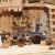 ÖLBAUM-Krippe KS70ng-MF-SKR-T2LF2 XXL Holz-Weihnachtskrippe, mit GRANITBRUNNEN Wassergrand + Premium-DEKOSET Krippenstall, Massivholz edel GEFLAMMT - mit 12 x Premium- Krippenfiguren + Engel - 4