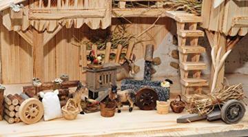 ÖLBAUM-Krippe KS70ng-MF-SKR- XXL Holz-Weihnachtskrippe, mit GRANITBRUNNEN Wassergrand + Premium-DEKOSET Krippenstall, Massivholz edel GEFLAMMT - mit 12 x Premium- Krippenfiguren + Engel mit - 2
