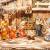 ÖLBAUM-Krippe KS70ng-MF-SKR- XXL Holz-Weihnachtskrippe, mit GRANITBRUNNEN Wassergrand + Premium-DEKOSET Krippenstall, Massivholz edel GEFLAMMT - mit 12 x Premium- Krippenfiguren + Engel mit - 4