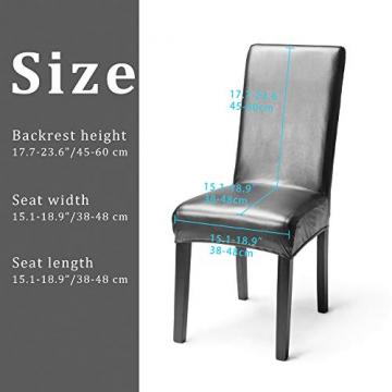 OSVINO 2er/4er Set Stuhlhussen PU Leder Stuhlbezug wasserabweisend Stretch für Haus Büro Restaurant, Schwarz 2 Stücke - 2