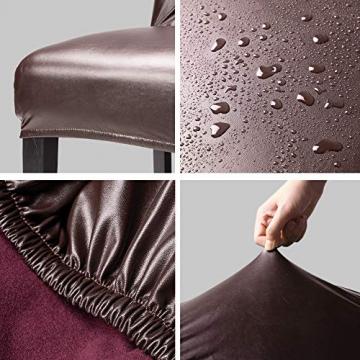 OSVINO 2er/4er Set Stuhlhussen PU Leder Stuhlbezug wasserabweisend Stretch für Haus Büro Restaurant (Braun, 6 Stücke) - 3