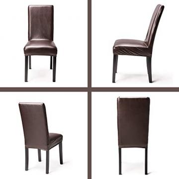 OSVINO 2er/4er Set Stuhlhussen PU Leder Stuhlbezug wasserabweisend Stretch für Haus Büro Restaurant (Braun, 6 Stücke) - 4
