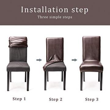 OSVINO 2er/4er Set Stuhlhussen PU Leder Stuhlbezug wasserabweisend Stretch für Haus Büro Restaurant (Braun, 6 Stücke) - 5