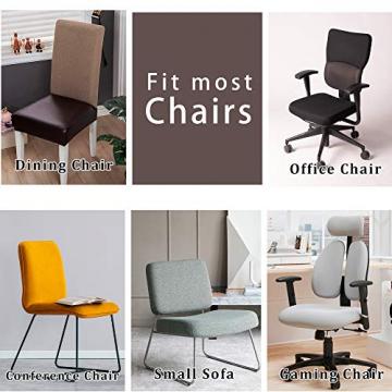 OSVINO 2er/4er Set Stuhlhussen PU Leder Stuhlbezug wasserabweisend Stretch für Haus Büro Restaurant (Braun, 6 Stücke) - 6
