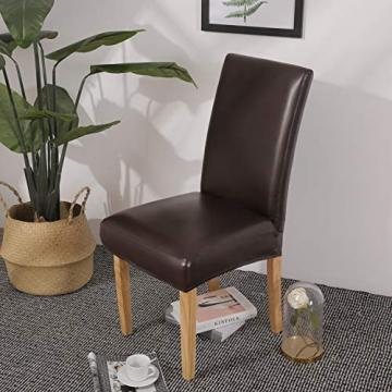 OSVINO 2er/4er Set Stuhlhussen PU Leder Stuhlbezug wasserabweisend Stretch für Haus Büro Restaurant (Braun, 6 Stücke) - 7