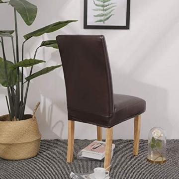 OSVINO 2er/4er Set Stuhlhussen PU Leder Stuhlbezug wasserabweisend Stretch für Haus Büro Restaurant (Braun, 6 Stücke) - 8