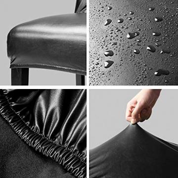 OSVINO 2er/4er Set Stuhlhussen PU Leder Stuhlbezug wasserabweisend Stretch für Haus Büro Restaurant, Schwarz 2 Stücke - 3