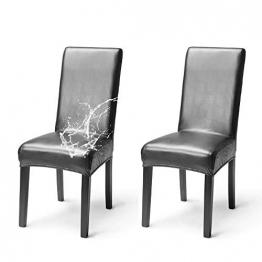 OSVINO 2er/4er Set Stuhlhussen PU Leder Stuhlbezug wasserabweisend Stretch für Haus Büro Restaurant, Schwarz 2 Stücke - 1