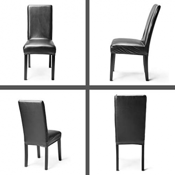 OSVINO 2er/4er Set Stuhlhussen PU Leder Stuhlbezug wasserabweisend Stretch für Haus Büro Restaurant, Schwarz 2 Stücke - 4