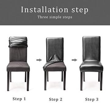 OSVINO 2er/4er Set Stuhlhussen PU Leder Stuhlbezug wasserabweisend Stretch für Haus Büro Restaurant, Schwarz 2 Stücke - 5