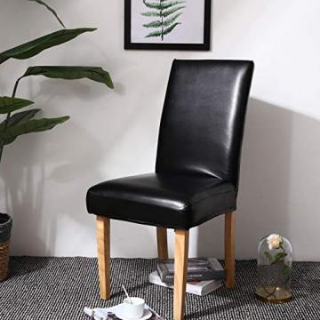 OSVINO 2er/4er Set Stuhlhussen PU Leder Stuhlbezug wasserabweisend Stretch für Haus Büro Restaurant, Schwarz 2 Stücke - 7