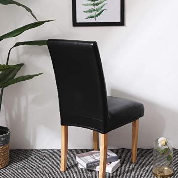 OSVINO 2er/4er Set Stuhlhussen PU Leder Stuhlbezug wasserabweisend Stretch für Haus Büro Restaurant, Schwarz 2 Stücke - 8