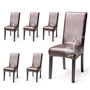 OSVINO 2er/4er Set Stuhlhussen PU Leder Stuhlbezug wasserabweisend Stretch für Haus Büro Restaurant (Braun, 6 Stücke) - 1
