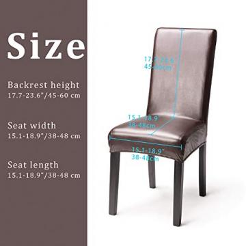 OSVINO 2er/4er Set Stuhlhussen PU Leder Stuhlbezug wasserabweisend Stretch für Haus Büro Restaurant (Braun, 6 Stücke) - 2