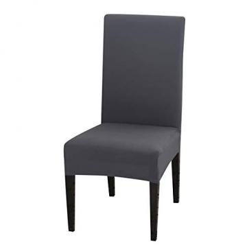 Padgene Universal Stretch Stuhlhussen, Abnehmbare Stuhlbezug Sitz Stuhl Esszimmer überzug Stuhlüberzu Abdeckungen Hussen für Husse Hotel Party Bankett (Grau, 4er Set) - 1