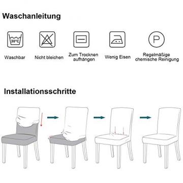 Padgene Universal Stretch Stuhlhussen, Abnehmbare Stuhlbezug Sitz Stuhl Esszimmer überzug Stuhlüberzu Abdeckungen Hussen für Husse Hotel Party Bankett (Grau, 4er Set) - 8