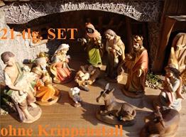 Premium-Krippenfiguren von BTV Oelbaum KFG-MDS mit Deko, 21 - teiliges Set, gro - 1
