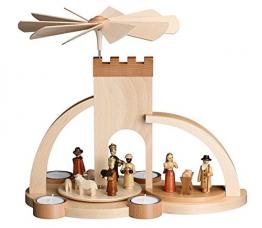 Pyramide Christi Geburt – Holz – Weihnachtspyramide – für 4 Teelichter - Tischpyramide - 29 cm – Erzgebirge - NEU - 1