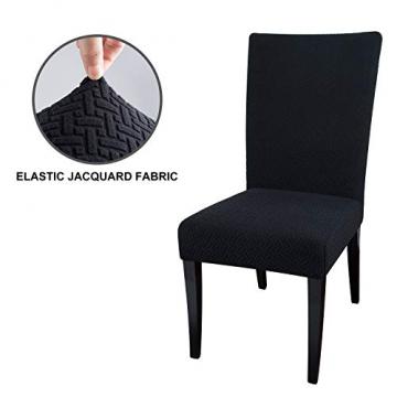 Qishare Stuhlhussen 4 Stück Stuhlbezug Abnehmbare Stretch Elastische Universal Waschbar Anti-Staub Parsons Stuhl Sitz Schutzhülle für Esszimmer, Hotel, Zeremonie, Hochzeit, Party (schwarz) - 2
