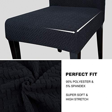 Qishare Stuhlhussen 4 Stück Stuhlbezug Abnehmbare Stretch Elastische Universal Waschbar Anti-Staub Parsons Stuhl Sitz Schutzhülle für Esszimmer, Hotel, Zeremonie, Hochzeit, Party (schwarz) - 3