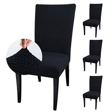 Qishare Stuhlhussen 4 Stück Stuhlbezug Abnehmbare Stretch Elastische Universal Waschbar Anti-Staub Parsons Stuhl Sitz Schutzhülle für Esszimmer, Hotel, Zeremonie, Hochzeit, Party (schwarz) - 1